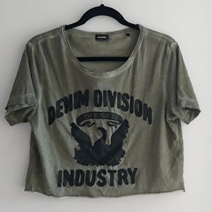 Diesel  Leather Graphic Cropped T-shirt